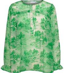 blouse in wallpaper print w. string blus långärmad grön coster copenhagen