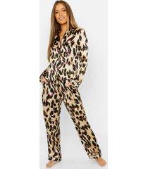 petite satijnen pyjama met luipaardprint, luipaard