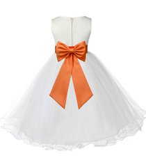 ivory flower girl dress pageant wedding bridesmaid special occasions tulle 829t