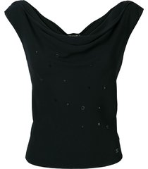 chanel pre-owned cowl neck embellished blouse - black