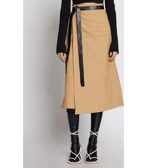 proenza schouler cotton canvas wrap skirt tan/brown 8