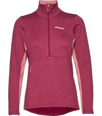 flyen fleece w half zip sweat-shirt tröja rosa bergans