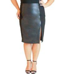 plus size women's maree pour toi ponte side stripe faux leather pencil skirt