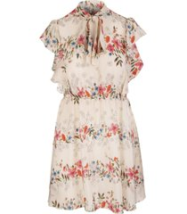 multicoloured silk frilled floral print dress