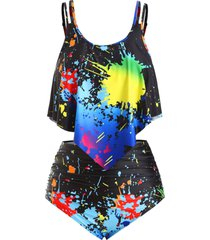splatter paint overlay ruched strappy plus size tankini swimsuit