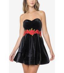 b darlin juniors' velvet embroidered strapless a-line dress