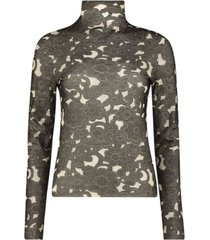 monochromatic floral high neck blouse