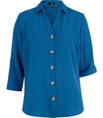 camicetta in crêpe con scollo a v e maniche a 3/4 regolabili (blu) - bpc bonprix collection