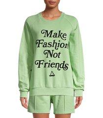 eleven paris women's make fashion cotton sweatshirt - green - size m