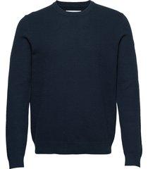 falun crew neck 9987 gebreide trui met ronde kraag blauw samsøe samsøe