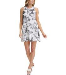 calvin klein printed a-line dress