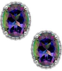 14k white gold mystic topaz (4 ct. t.w.) and diamond (1/6 ct. t.w.) stud earrings