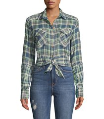 first bloom tie-front plaid shirt