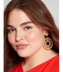 lane bryant women's beaded double-circle drop earrings onesz gold tone