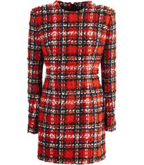 balmain tartan tweed and lurex dress
