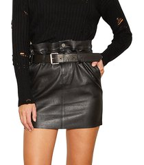 marlin belted paperbag leather mini skirt