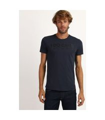 "camiseta masculina antiviral slim i do care"" manga curta gola careca azul marinho"""