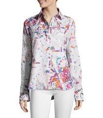 robert graham women's cityscape embellished cotton & silk shirt - size l