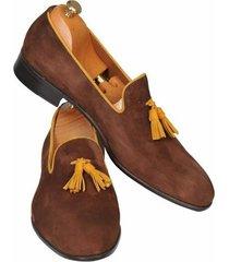 handmade men brown shoes, leather moccasin loafer shoes, men suede dress shoes