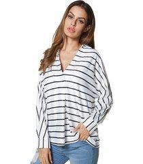 blusa de manga larga con cuello en v a rayas de dorimis