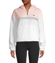 tommy hilfiger sport women's mixed-media quarter-zip hoodie - cloud blush - size l