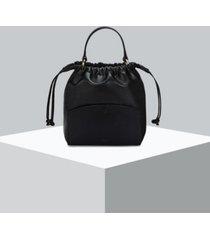 oryany benson leather string bucket bag