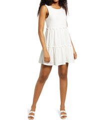 speechless tiered eyelet knit sleeveless minidress, size x-large in white at nordstrom