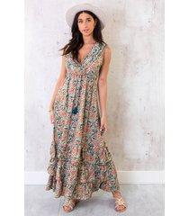 lagen jurk paisley turquoise