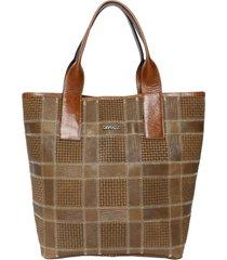 bolsa couro griffazzi shopping bag camel - kanui