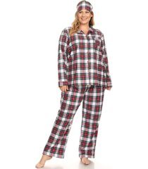 white mark plus size 3-piece pajama set