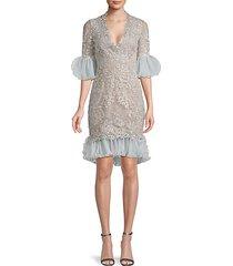 ruffle metallic-lace sheath dress