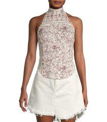 free people women's floral-print halterneck top - tea combo - size xl