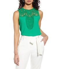 women's halogen lace & crepe top, size small - green