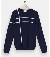 mens navy and white stripe knitted sweater
