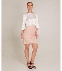 falda tubo con textura unicolor