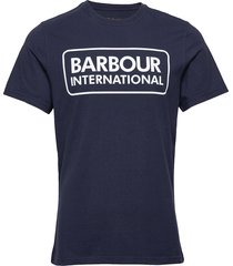 b.intl essential large logo tee t-shirts short-sleeved blå barbour
