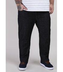 calça jeans masculina plus size reta com bolsos preta