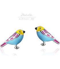 little jungle bird- srebrne kolczyki + box