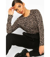 knitted mono animal printed top, mocha