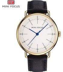 reloj para hombre/correa de piel/ mini focus / 0056g /-negro