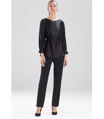 natori solid silk charm tie-front top, women's, 100% silk, size 4