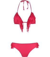 shiwi bikini triangle fringe rood