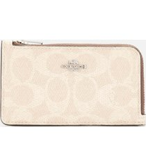 coach women's signature block small l zip card case - tan sand orchid
