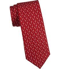 bird-print silk tie