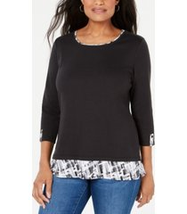karen scott petite printed-trim top, created for macy's