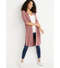 maurices womens pink ribbed duster cardigan brown