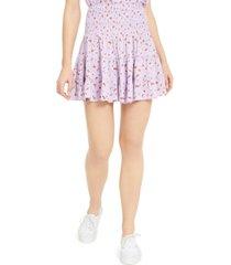 ultra flirt juniors' printed smocked-waist mini skirt