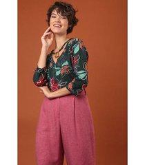 camisa meia vista manga 3/4 jardim ervadoce feminina