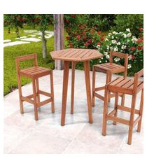 conjunto mesa bar sextavada com 3 banquetas em madeira maciça magazine decor - jatobá