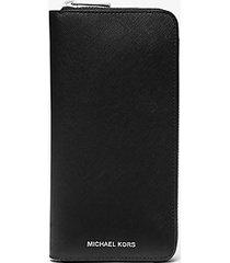 mk portafoglio henry in pelle saffiano con zip su tre lati - nero (nero) - michael kors
